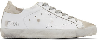 Golden Goose White & Grey Perforated Superstar Sneakers $385 thestylecure.com