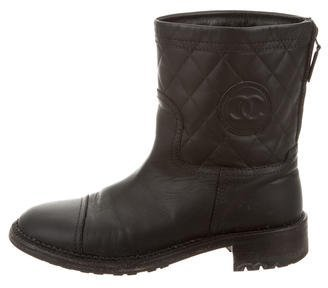 Chanel Leather Quilted Ankle Boots