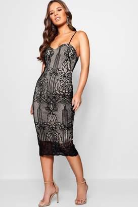 boohoo Petite Strappy Cord Lace Midi Dress