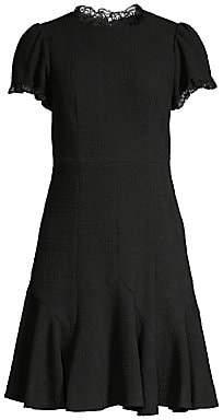 Rebecca Taylor Women's Lace-Trim Sleeveless Tweed A-Line Dress - Size 0