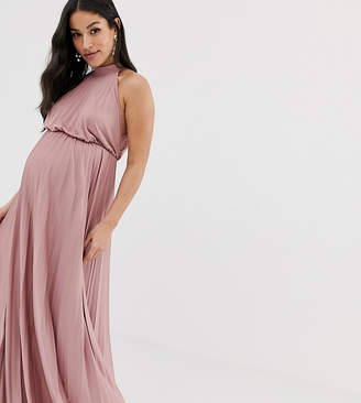 Asos DESIGN Maternity high neck pleated maxi dress
