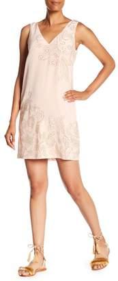 Trina Turk Glitterati V-Neck Embellished Stud Silk Dress