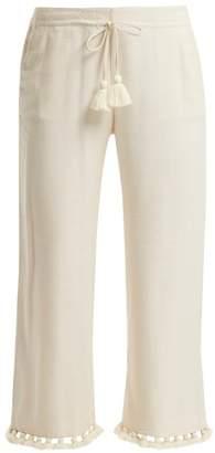 Figue Felipe Tassel Hem Silk Blend Trousers - Womens - Ivory