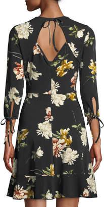 Dex Floral-Print Shoulder Ruffle A-Line Dress