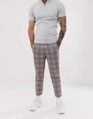 Asos Design DESIGN tapered smart pant with half elasticated waist in red check