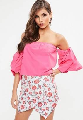 Missguided Pink Balloon Sleeve Bardot Top