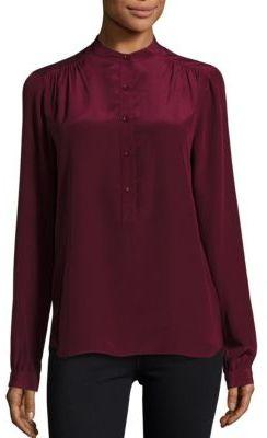 BCBGMAXAZRIAHigh Neck Button Front Silk Blouse