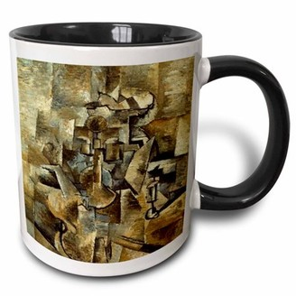 N. 3dRose Picasso Painting Violin Candlestick - Two Tone Black Mug, 11-ounce