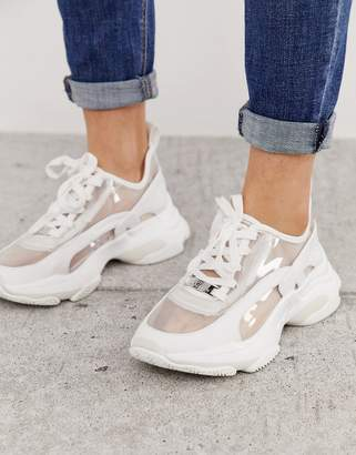 Steve Madden lace up chunky trainer in white