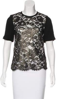 Tibi Short Sleeve Lace Top