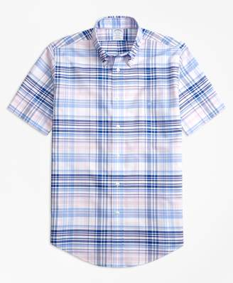 Brooks Brothers Non-Iron Regent Fit BrooksCool Plaid Short-Sleeve Sport Shirt