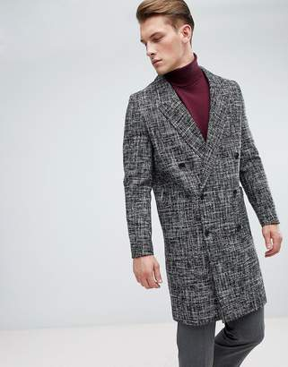 New Look Wool Overcoat In Fleck Black