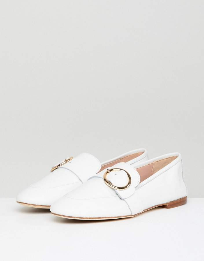 Kurt Geiger London Kurt Geiger White Leather Circle Buckle Loafers