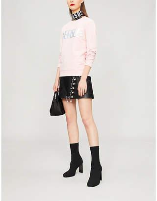 Versace Glittered-logo cotton-jersey sweatshirt
