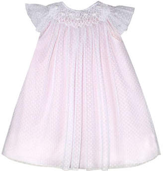 Isabel Garreton Angelic Smocked Swiss Dot Bishop Dress, Size 12 Months