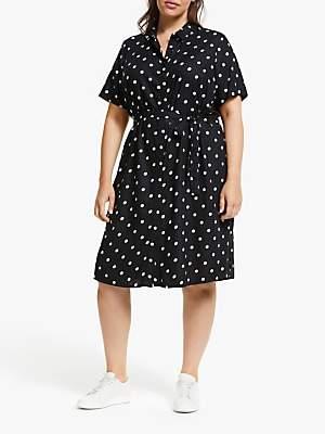 Junarose Curve Tracy Spot Print Shirt Dress, Black
