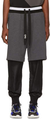 Dolce & Gabbana Grey and Black Logo Band Lounge Pants