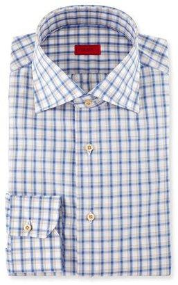 Isaia Box-Check Dress Shirt, Blue/Tan $475 thestylecure.com