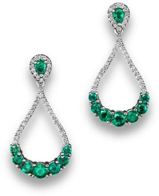 Bloomingdale's Emerald and Diamond Drop Earrings in 14K White Gold - 100% Exclusive