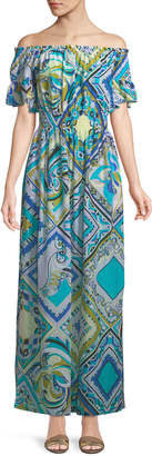 Emilio Pucci Postcards-Printed Cotton/Silk Coverup Maxi Dress