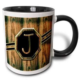 3dRose Elegant Faux Gold and Wood Grain Monogram Letter J - Two Tone Black Mug, 11-ounce