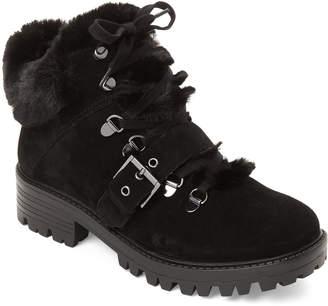 KENDALL + KYLIE Black Edison Faux Fur Suede Boots