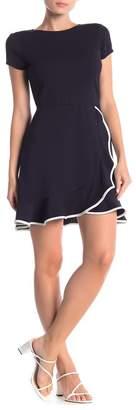 Love...Ady Contrast Ruffle Cap Sleeve Dress