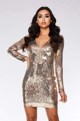 c452d8771613 Gold Sequin Bodycon Dress - ShopStyle UK