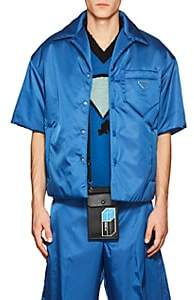 Prada Men's Padded Tech-Twill Bowling Shirt - Blue