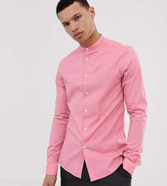 Asos Design DESIGN Tall skinny fit shirt with grandad collar in pink