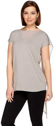 Halston H By H by V-Neck Knit Top with Chiffon Inset & Draped Back