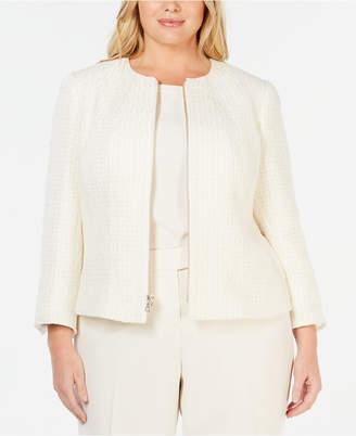 1e8d847fd55 Anne Klein Plus Size Zip Front Tweed Jacket