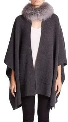 Sofia Cashmere Women's Fox Fur& Cashmere Mockneck Cape - Charcoal