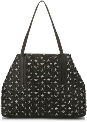 Jimmy Choo PIMLICO/S Black Leather Tote Bag with Gunmetal Stars