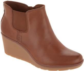 Clarks Leather Slip-On Wedge Boots - Hazen Flora