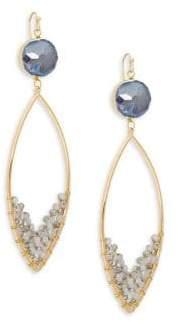 Panacea Goldplated Grey Gemstone Marquis Dangle Drop Earrings