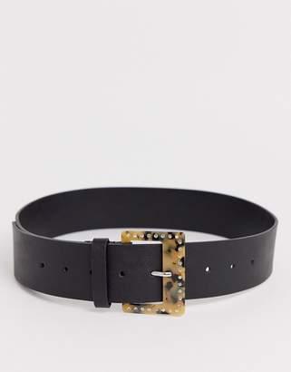 Asos Design DESIGN wide tort and rhinestone buckle waist belt