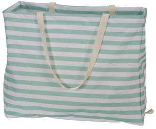 Household Essentials Krush Rectangle Utility Tote Bag, Teal Stripes