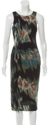 Halston Printed Sleeveless Dress Black Printed Sleeveless Dress