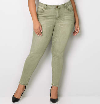 Avenue Washed Skinny Jean in Olive