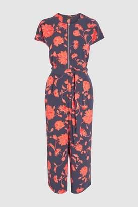 Next Womens Navy/Orange Floral Zip Front Jumpsuit