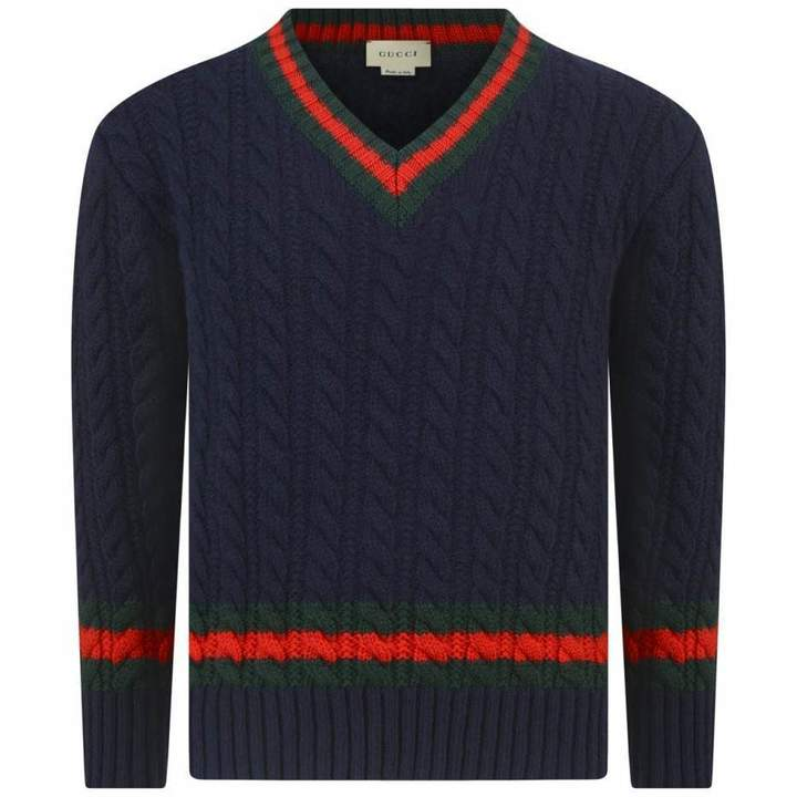 GUCCIBoys Navy Cable Knit Sweater