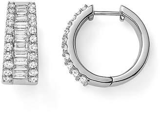 Bloomingdale's Baguette and Round Diamond Huggie Hoop Earrings in 14K White Gold, 2.0 ct. t.w. - 100% Exclusive