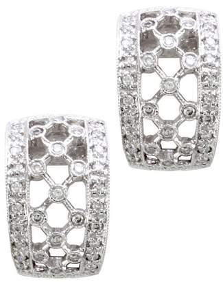 14K White Gold 0.34ctw. Pave Diamond Lattice Milgrain Huggie Earrings