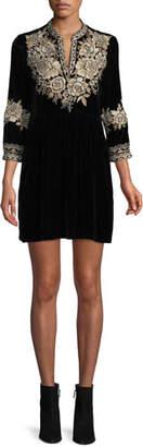 Johnny Was Olenna Henley Boho 3/4-Sleeve Velvet Dress