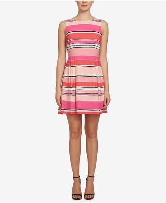 CeCe Claiborne Striped Fit & Flare Dress $138 thestylecure.com
