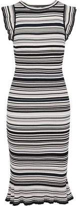 Milly Fluted Striped Ribbed-Knit Dress