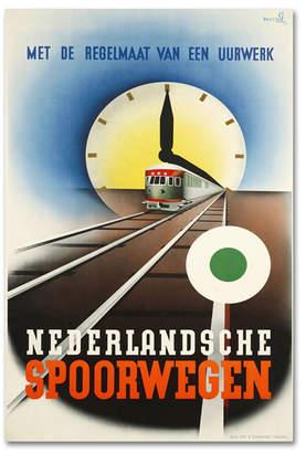 "Artdeco Vintage Apple Collection 'Artdeco Railroad Netherlands' Canvas Art - 24"" x 16"" x 2"""
