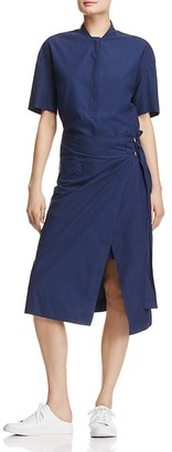 DKNY Pure Short Sleeve Half Placket Wrap Dress $298 thestylecure.com