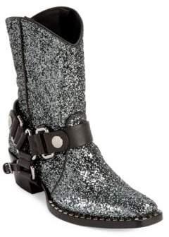 Miu Miu Glitter Leather Cowboy Booties